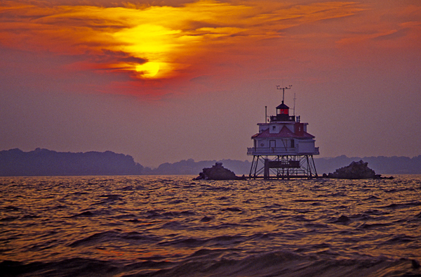 Sunset, Thomas Point Shoals Lighthouse, Chesapeake Bay, Maryland