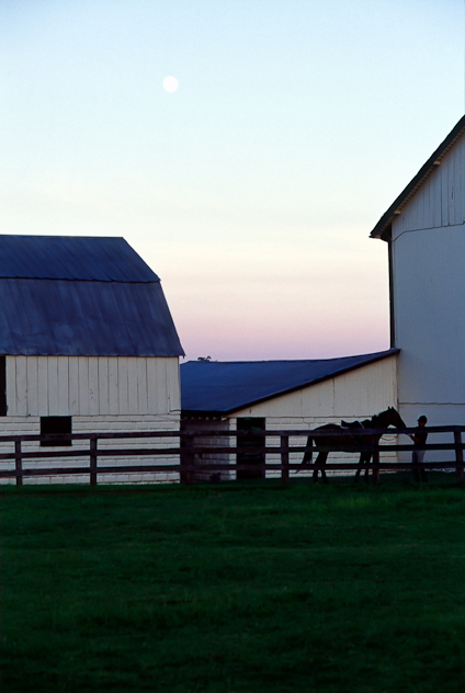 Bascule Farm, Dusk and Moonrise, Montgomery County, Maryland, Au