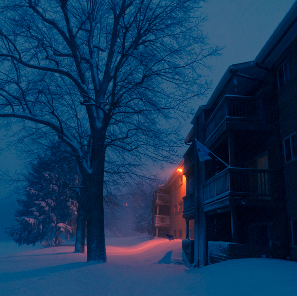 Snowstorm at Night, Hunter Hill Apartments, Hagerstown, Maryland
