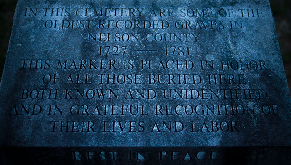 Visitor's Tablet, Dusk, Cemetery, Rockfish Presbyterian Church,