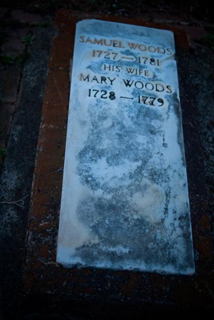 Woods' Marble Marker, Dusk, Cemetery, Rockfish Presbyterian Chur
