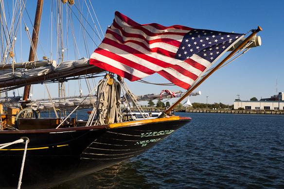 "American Flag, Stern of ""Virginia"", Virginia Pilot Schooner, Cam"