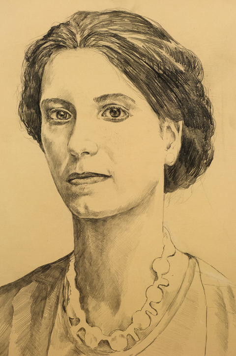 Portrait of Lady with Ruffled Collar, Graphite, 1980.